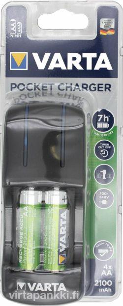 57642 101 451 Pocket Charger inkl. 4xAA 56706 2100mAh - Akkuparistolaturi paristoilla