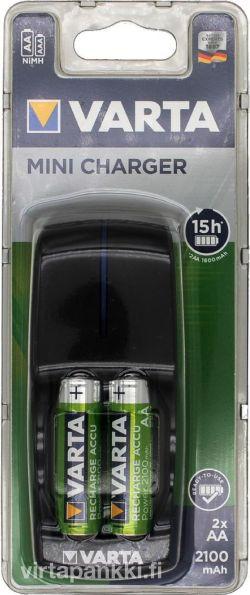 57646 101 451 Mini Charger inkl. 2xAA 56706 2100mAh - Paristolaturi paristoilla