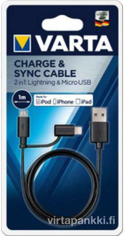 57943 101 401 2in1 Lataus- ja datakaapeli micro-USB ja lightning liittimillä